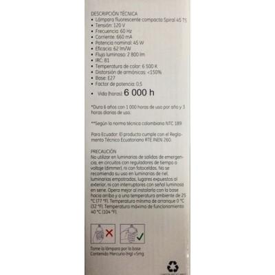 35051 Lámpara Fluorescente Compacta Spiral 45 T5 c/u